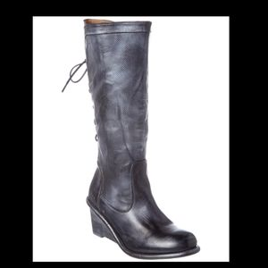 Bed-stu Black/silver Empress wedge riding boots